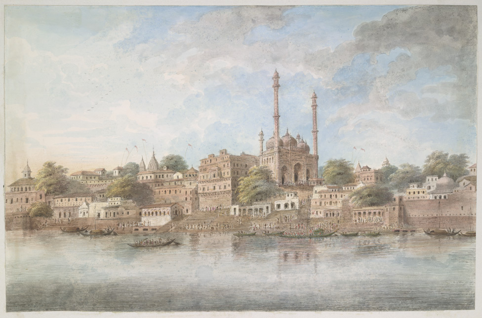 The river frontage at Benares with the Panchganga Ghat in the centre and Aurangzeb's mosque rising above it